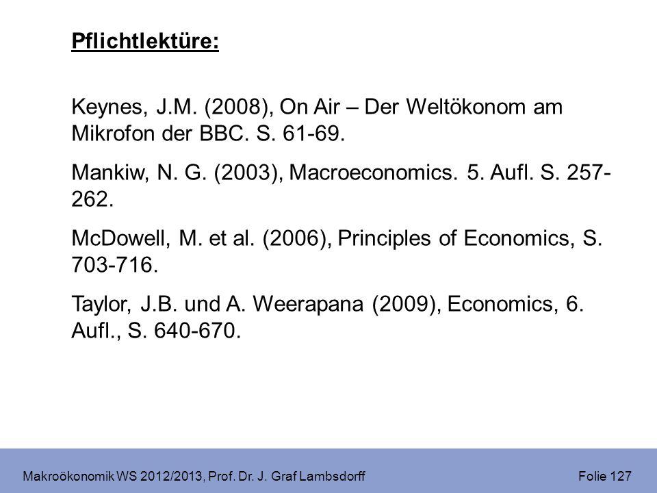 Makroökonomik WS 2012/2013, Prof. Dr. J. Graf Lambsdorff Folie 127 Pflichtlektüre: Keynes, J.M. (2008), On Air – Der Weltökonom am Mikrofon der BBC. S