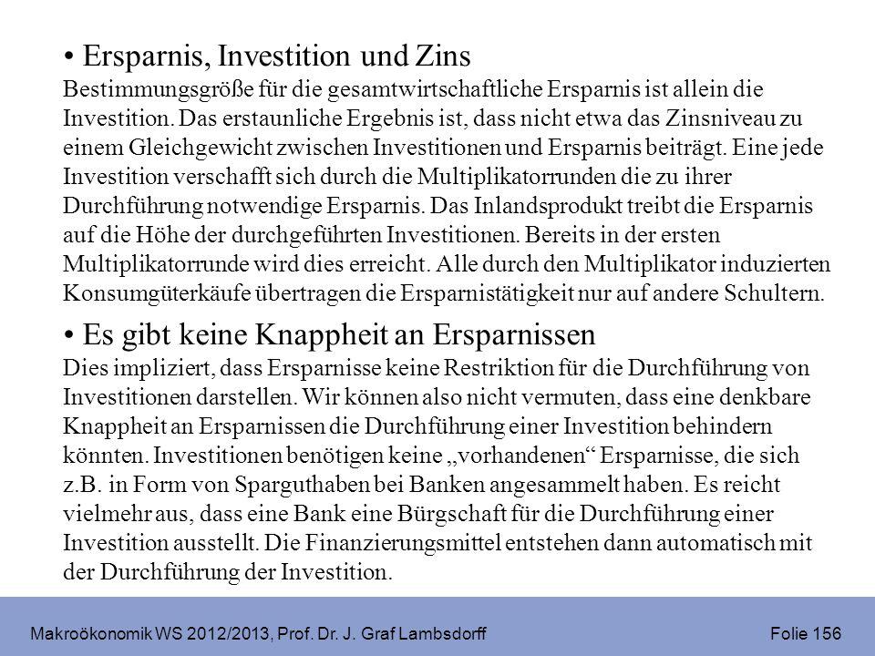 Makroökonomik WS 2012/2013, Prof. Dr. J. Graf Lambsdorff Folie 156 Ersparnis, Investition und Zins Bestimmungsgröße für die gesamtwirtschaftliche Ersp