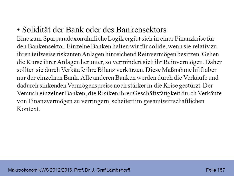 Makroökonomik WS 2012/2013, Prof. Dr. J. Graf Lambsdorff Folie 157 Solidität der Bank oder des Bankensektors Eine zum Sparparadoxon ähnliche Logik erg