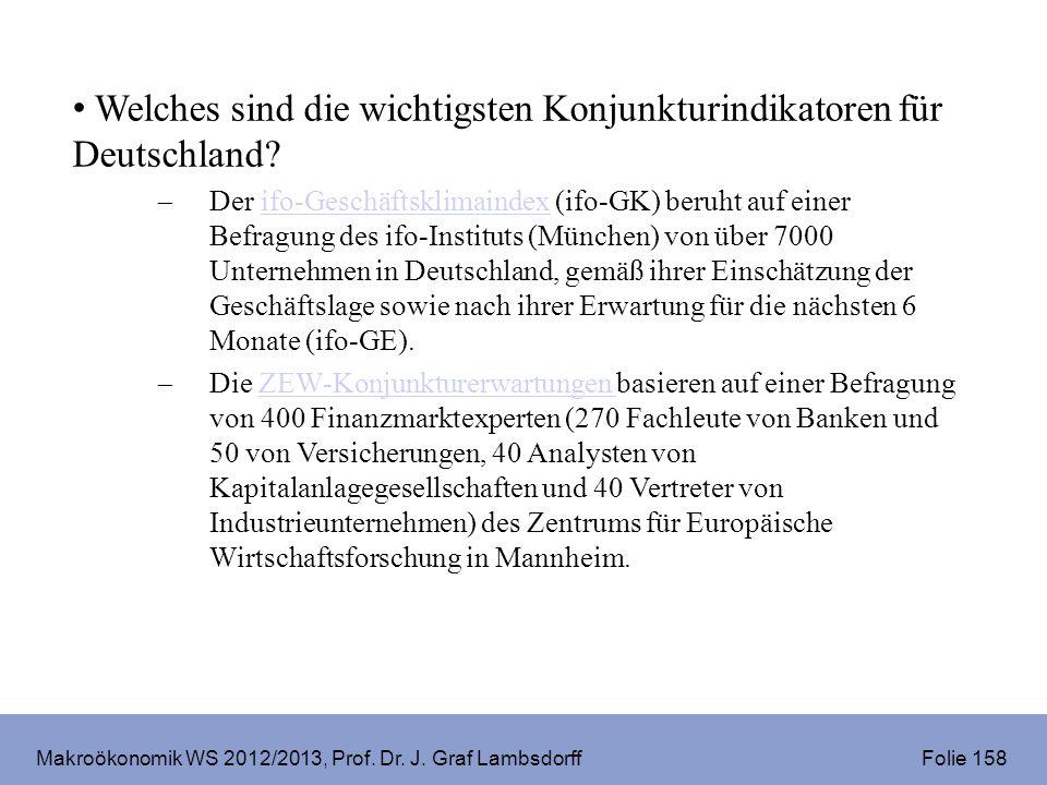 Makroökonomik WS 2012/2013, Prof. Dr. J. Graf Lambsdorff Folie 158 Welches sind die wichtigsten Konjunkturindikatoren für Deutschland? Der ifo-Geschäf