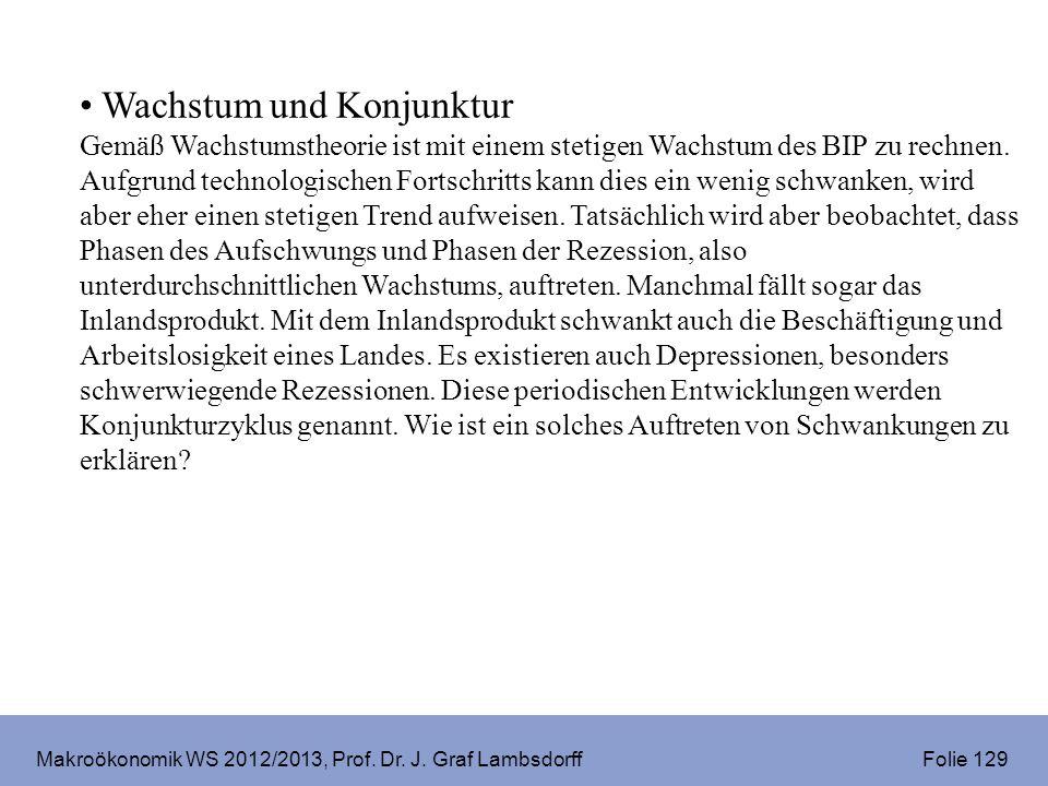 Makroökonomik WS 2012/2013, Prof. Dr. J. Graf Lambsdorff Folie 129 Wachstum und Konjunktur Gemäß Wachstumstheorie ist mit einem stetigen Wachstum des
