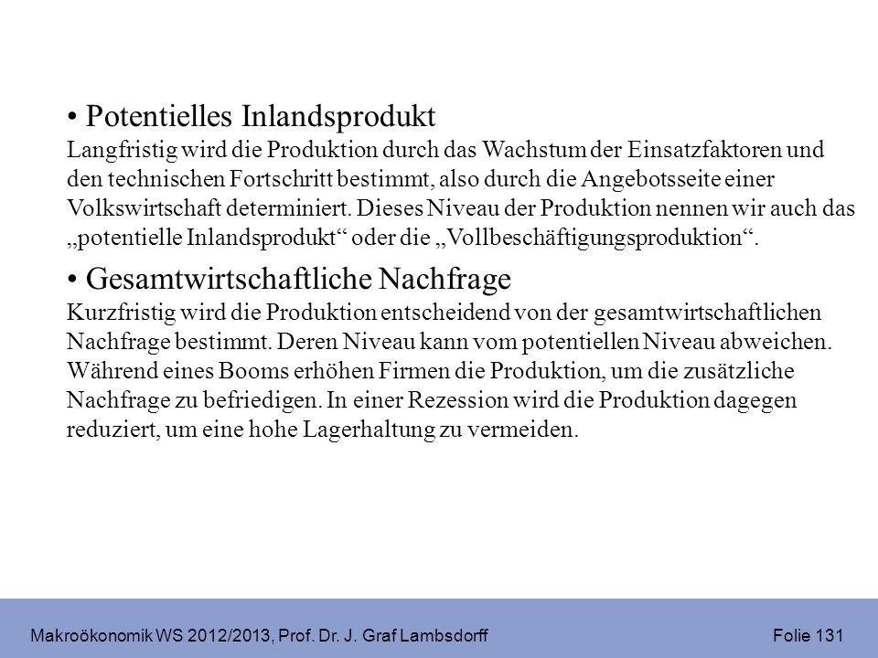 Makroökonomik WS 2012/2013, Prof. Dr. J. Graf Lambsdorff Folie 131 Potentielles Inlandsprodukt Langfristig wird die Produktion durch das Wachstum der