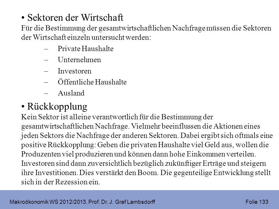 Makroökonomik WS 2012/2013, Prof. Dr. J. Graf Lambsdorff Folie 133 Sektoren der Wirtschaft Für die Bestimmung der gesamtwirtschaftlichen Nachfrage müs