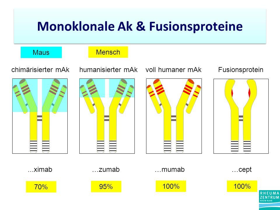 chimärisierter mAkhumanisierter mAkvoll humaner mAk...ximab…zumab…mumab Maus Mensch Fusionsprotein …cept 70% 95% 100% Monoklonale Ak & Fusionsproteine