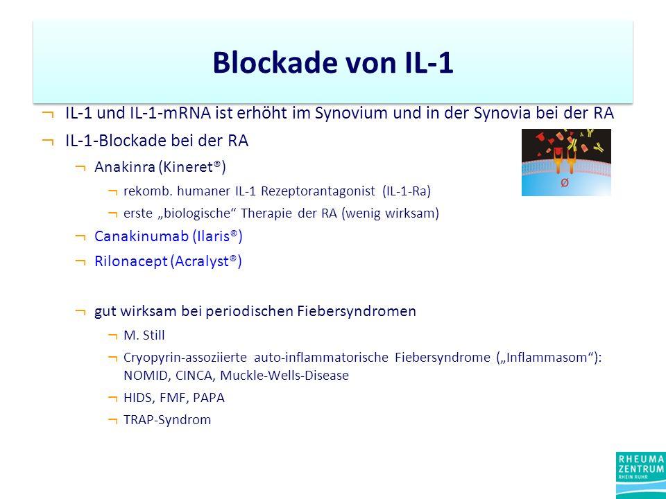 ¬ IL-1 und IL-1-mRNA ist erhöht im Synovium und in der Synovia bei der RA ¬ IL-1-Blockade bei der RA ¬ Anakinra (Kineret®) ¬ rekomb. humaner IL-1 Reze