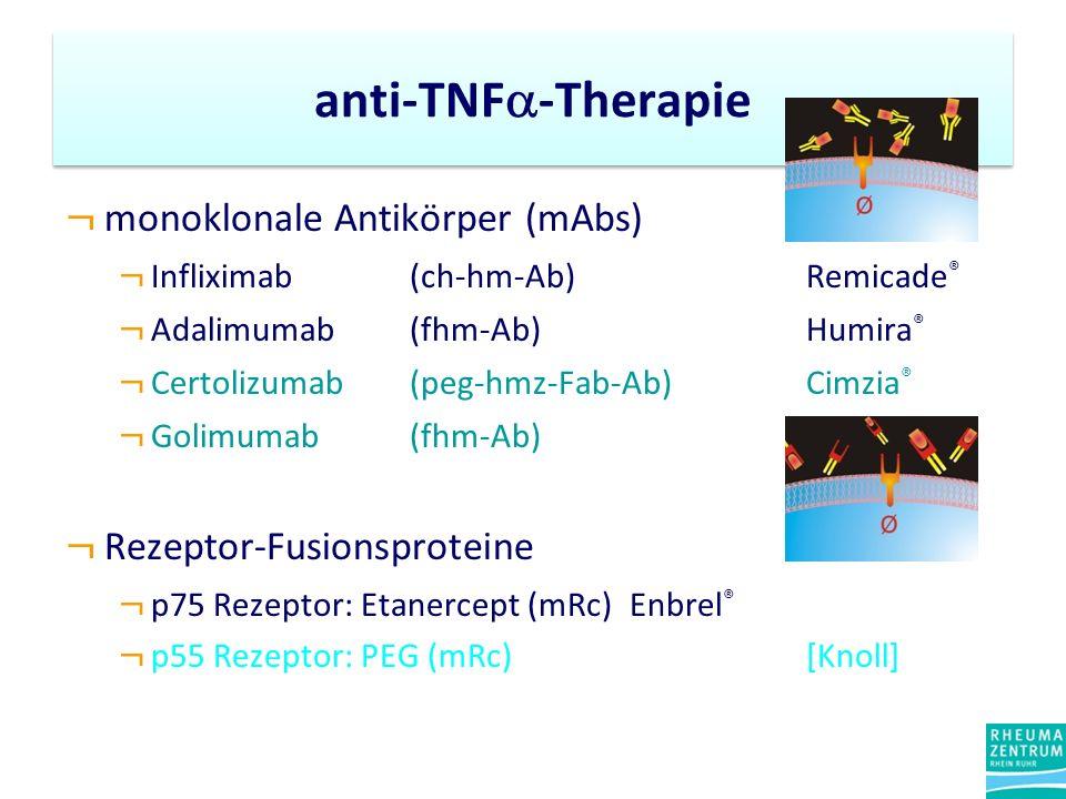 ¬ monoklonale Antikörper (mAbs) ¬ Infliximab (ch-hm-Ab) Remicade ® ¬ Adalimumab(fhm-Ab) Humira ® ¬ Certolizumab (peg-hmz-Fab-Ab)Cimzia ® ¬ Golimumab (fhm-Ab) ¬ Rezeptor-Fusionsproteine ¬ p75 Rezeptor: Etanercept (mRc) Enbrel ® ¬ p55 Rezeptor: PEG (mRc)[Knoll] anti-TNF -Therapie