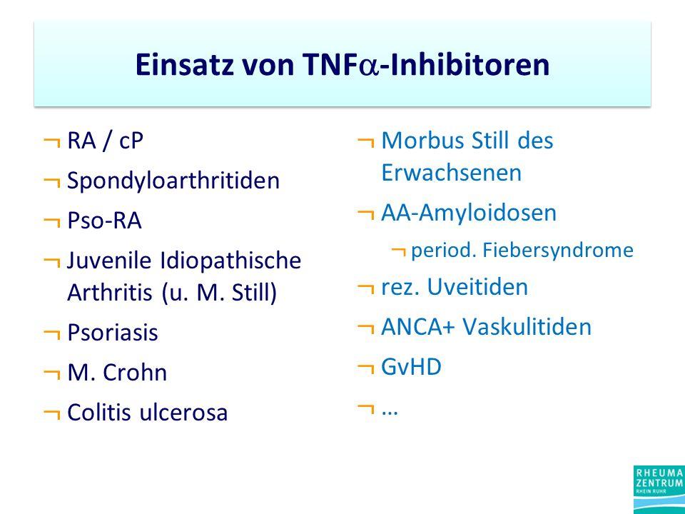 Einsatz von TNF -Inhibitoren ¬ RA / cP ¬ Spondyloarthritiden ¬ Pso-RA ¬ Juvenile Idiopathische Arthritis (u. M. Still) ¬ Psoriasis ¬ M. Crohn ¬ Coliti