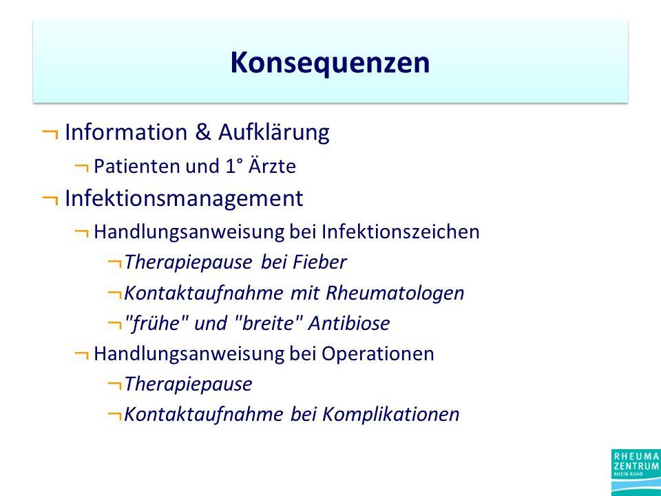 ¬ Information & Aufklärung ¬ Patienten und 1° Ärzte ¬ Infektionsmanagement ¬ Handlungsanweisung bei Infektionszeichen ¬ Therapiepause bei Fieber ¬ Kon