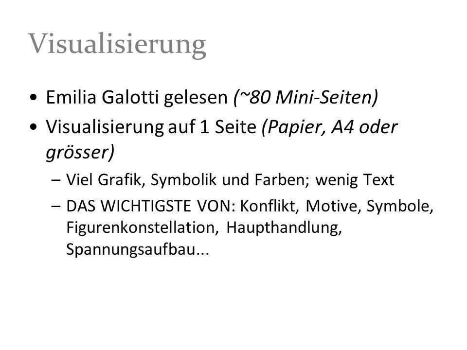 Visualisierung Emilia Galotti gelesen (~80 Mini-Seiten) Visualisierung auf 1 Seite (Papier, A4 oder grösser) –Viel Grafik, Symbolik und Farben; wenig