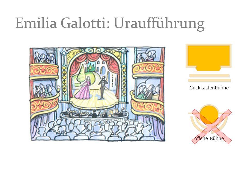 Emilia Galotti: Uraufführung Guckkastenbühne offene Bühne