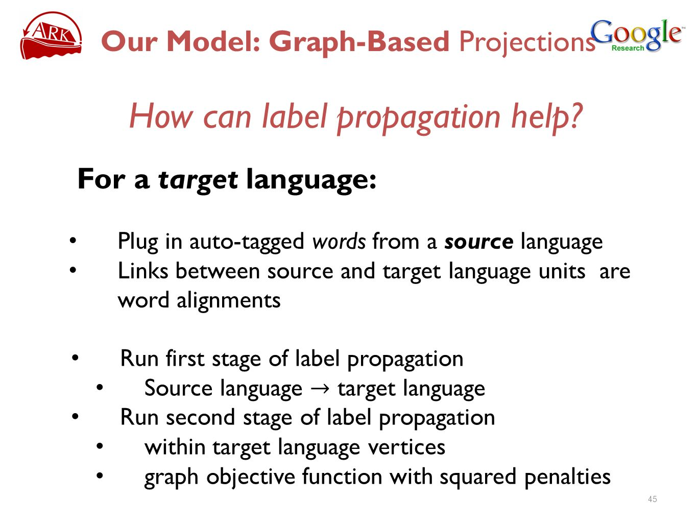 How can label propagation help? For a target language: Plug in auto-tagged words from a source language Links between source and target language units
