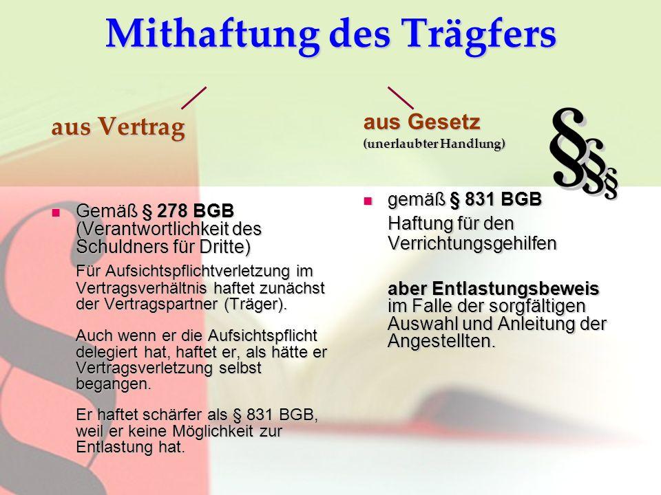 Mithaftung des Trägfers aus Vertrag Gemäß § 278 BGB (Verantwortlichkeit des Schuldners für Dritte) Gemäß § 278 BGB (Verantwortlichkeit des Schuldners