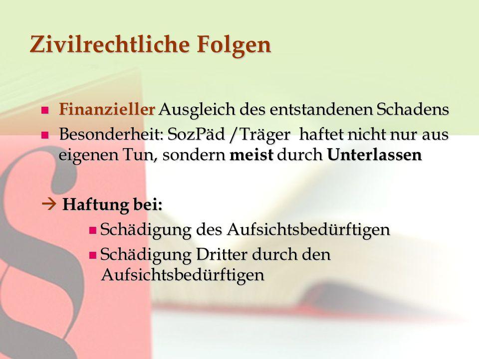 Zivilrechtliche Folgen Finanzieller Ausgleich des entstandenen Schadens Finanzieller Ausgleich des entstandenen Schadens Besonderheit: SozPäd /Träger