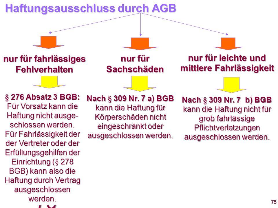 75 7575 Haftungsausschluss durch AGB nur für fahrlässiges Fehlverhalten nur für leichte und mittlere Fahrlässigkeit nur für Sachschäden § 276 Absatz 3