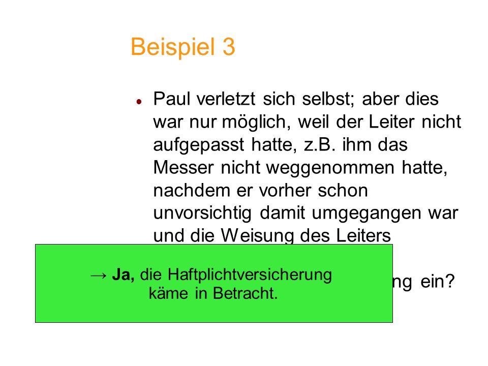 Beispiel 3 Paul verletzt sich selbst; aber dies war nur möglich, weil der Leiter nicht aufgepasst hatte, z.B. ihm das Messer nicht weggenommen hatte,