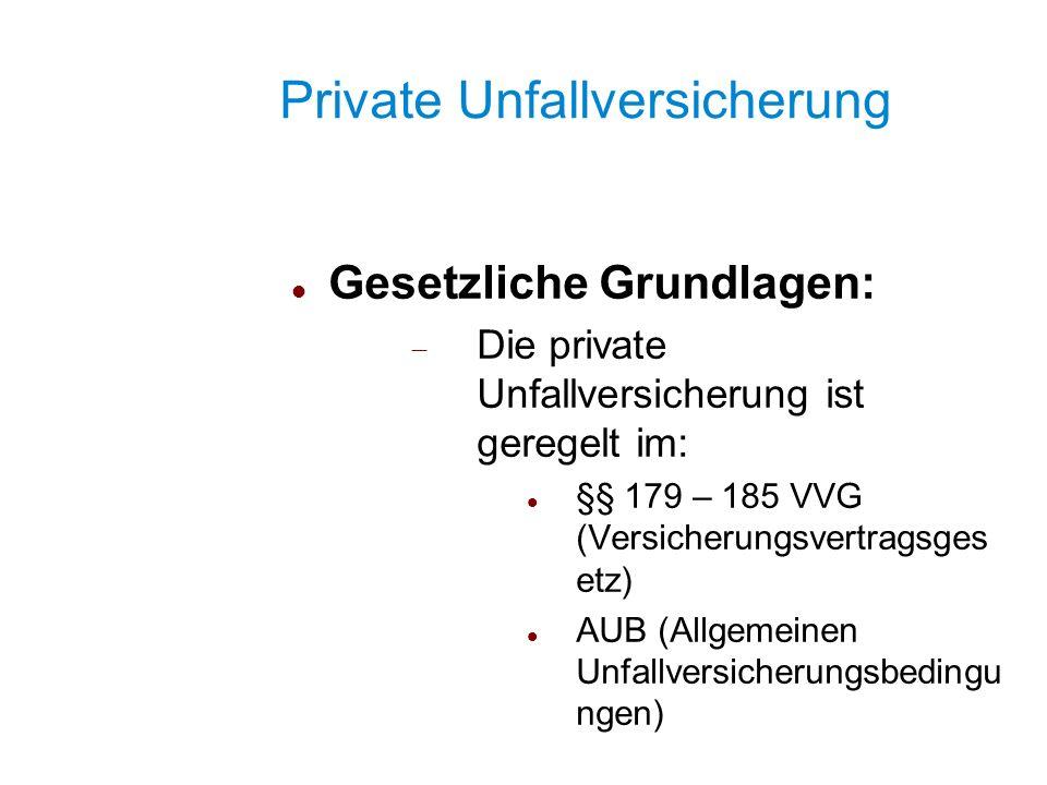 Private Unfallversicherung Gesetzliche Grundlagen: Die private Unfallversicherung ist geregelt im: §§ 179 – 185 VVG (Versicherungsvertragsges etz) AUB
