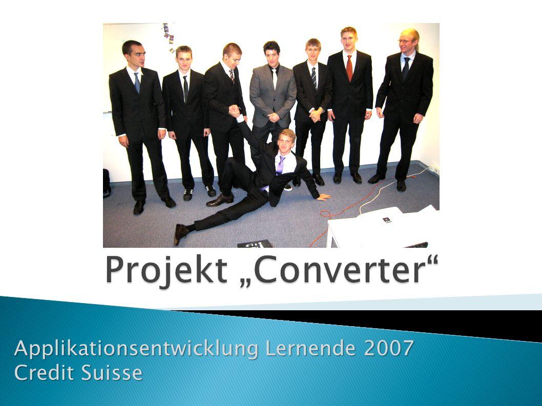 Applikationsentwicklung Lernende 2007 Credit Suisse