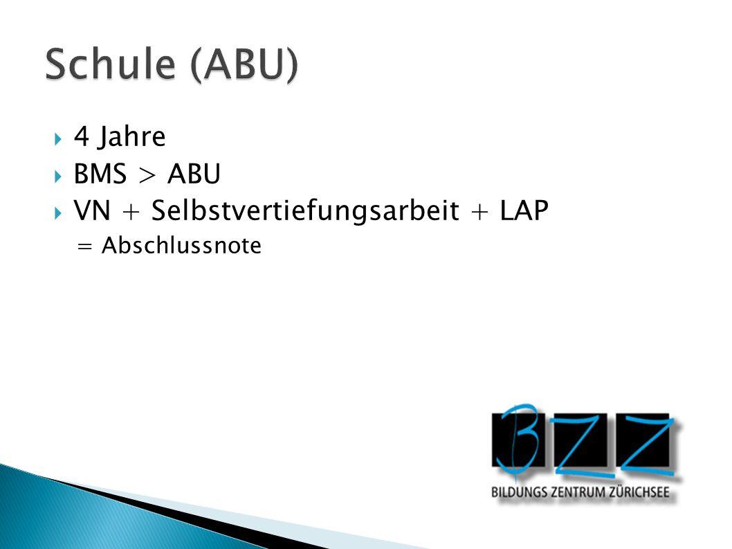 4 Jahre BMS > ABU VN + Selbstvertiefungsarbeit + LAP = Abschlussnote