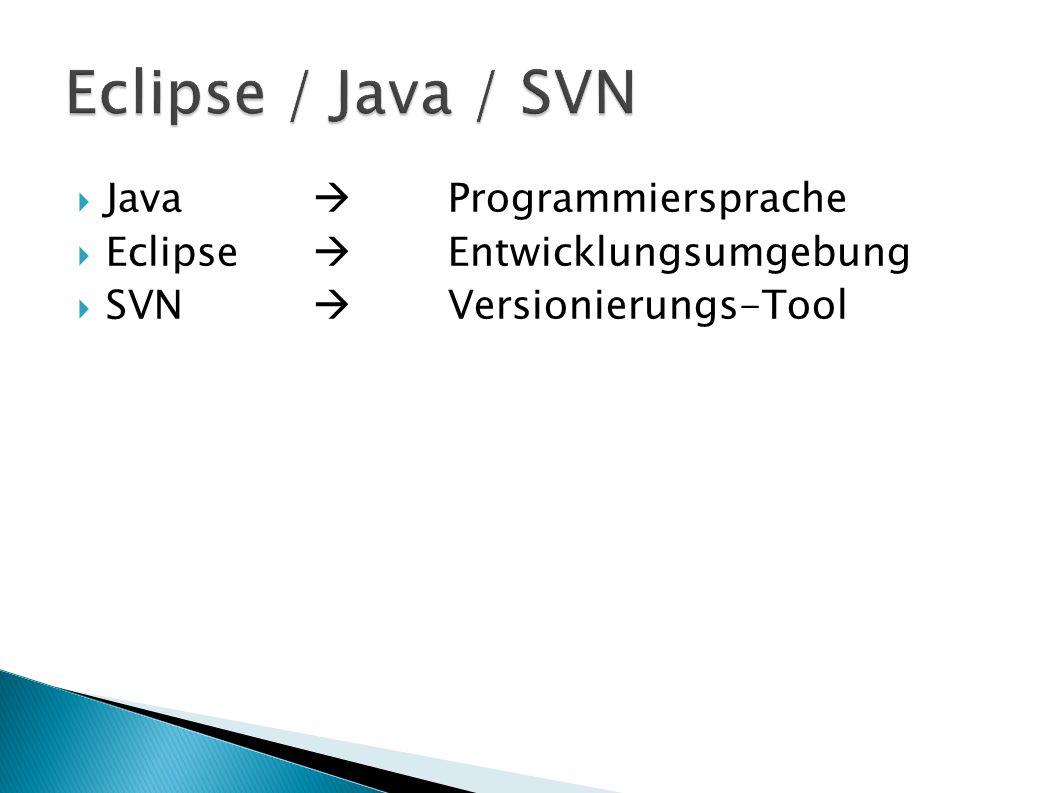 Java Programmiersprache Eclipse Entwicklungsumgebung SVN Versionierungs-Tool