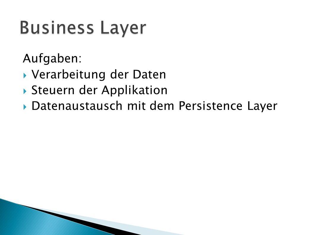 Aufgaben: Verarbeitung der Daten Steuern der Applikation Datenaustausch mit dem Persistence Layer