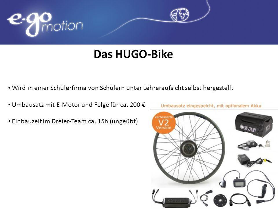 Das HUGO-Bike Wird in einer Schülerfirma von Schülern unter Lehreraufsicht selbst hergestellt Umbausatz mit E-Motor und Felge für ca. 200 Einbauzeit i