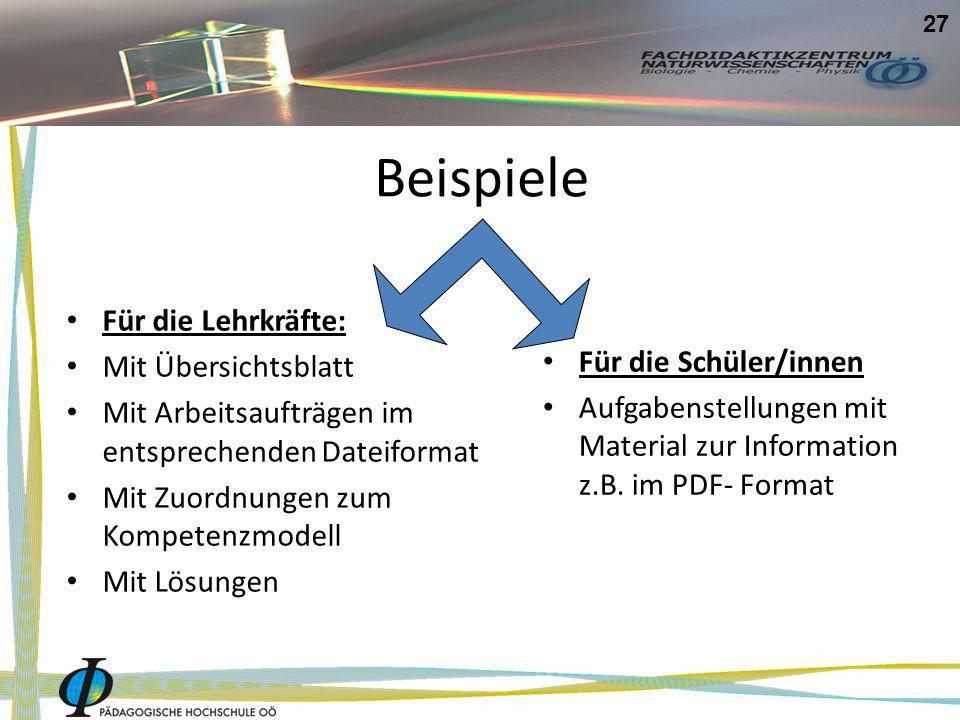 Beispiele Für die Lehrkräfte: Mit Übersichtsblatt Mit Arbeitsaufträgen im entsprechenden Dateiformat Mit Zuordnungen zum Kompetenzmodell Mit Lösungen