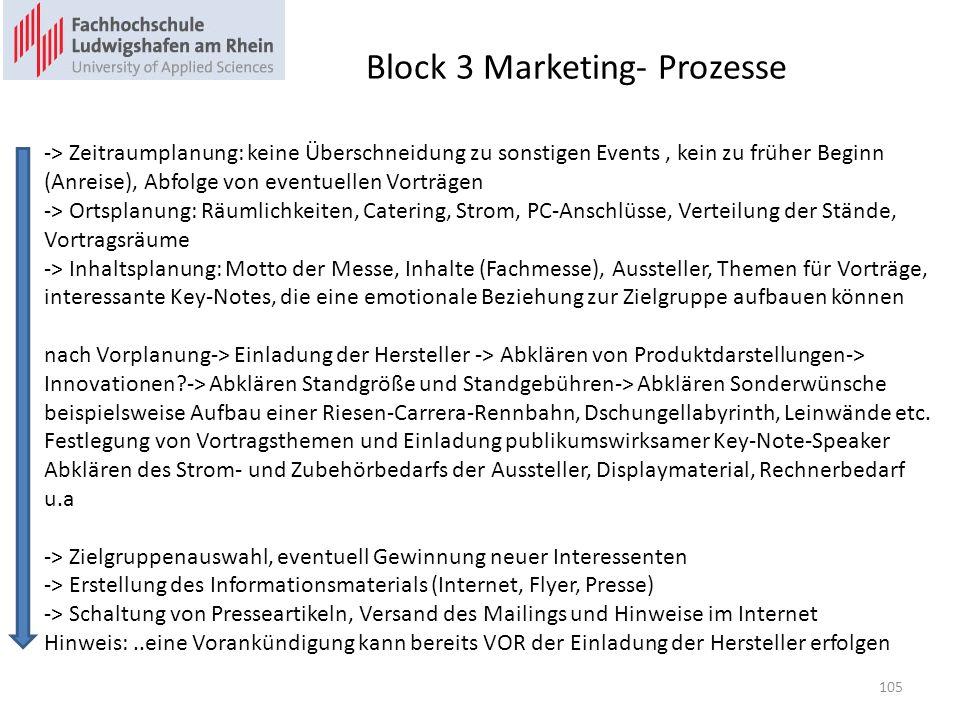 Block 3 Marketing- Prozesse -> Zeitraumplanung: keine Überschneidung zu sonstigen Events, kein zu früher Beginn (Anreise), Abfolge von eventuellen Vorträgen -> Ortsplanung: Räumlichkeiten, Catering, Strom, PC-Anschlüsse, Verteilung der Stände, Vortragsräume -> Inhaltsplanung: Motto der Messe, Inhalte (Fachmesse), Aussteller, Themen für Vorträge, interessante Key-Notes, die eine emotionale Beziehung zur Zielgruppe aufbauen können nach Vorplanung-> Einladung der Hersteller -> Abklären von Produktdarstellungen-> Innovationen?-> Abklären Standgröße und Standgebühren-> Abklären Sonderwünsche beispielsweise Aufbau einer Riesen-Carrera-Rennbahn, Dschungellabyrinth, Leinwände etc.