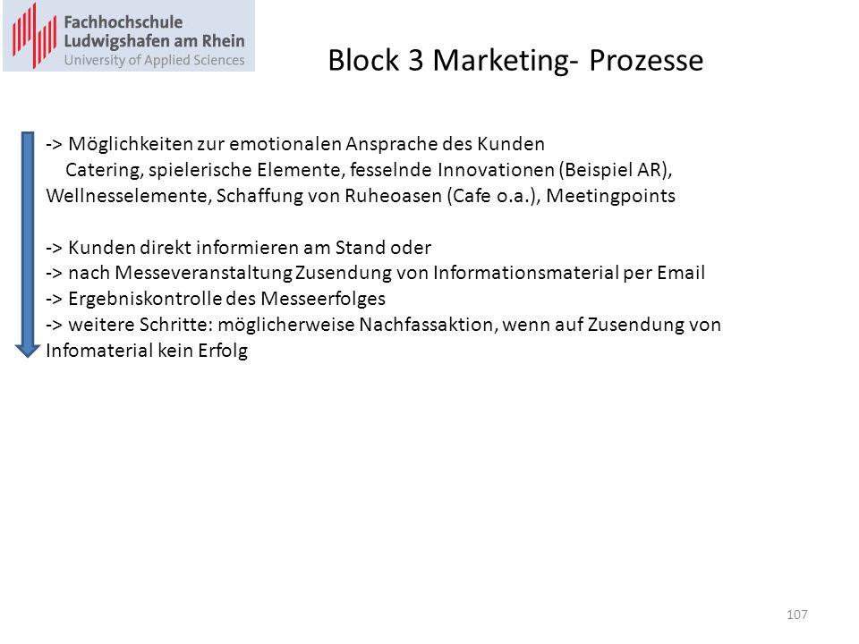 Block 3 Marketing- Prozesse -> Möglichkeiten zur emotionalen Ansprache des Kunden Catering, spielerische Elemente, fesselnde Innovationen (Beispiel AR), Wellnesselemente, Schaffung von Ruheoasen (Cafe o.a.), Meetingpoints -> Kunden direkt informieren am Stand oder -> nach Messeveranstaltung Zusendung von Informationsmaterial per Email -> Ergebniskontrolle des Messeerfolges -> weitere Schritte: möglicherweise Nachfassaktion, wenn auf Zusendung von Infomaterial kein Erfolg 107