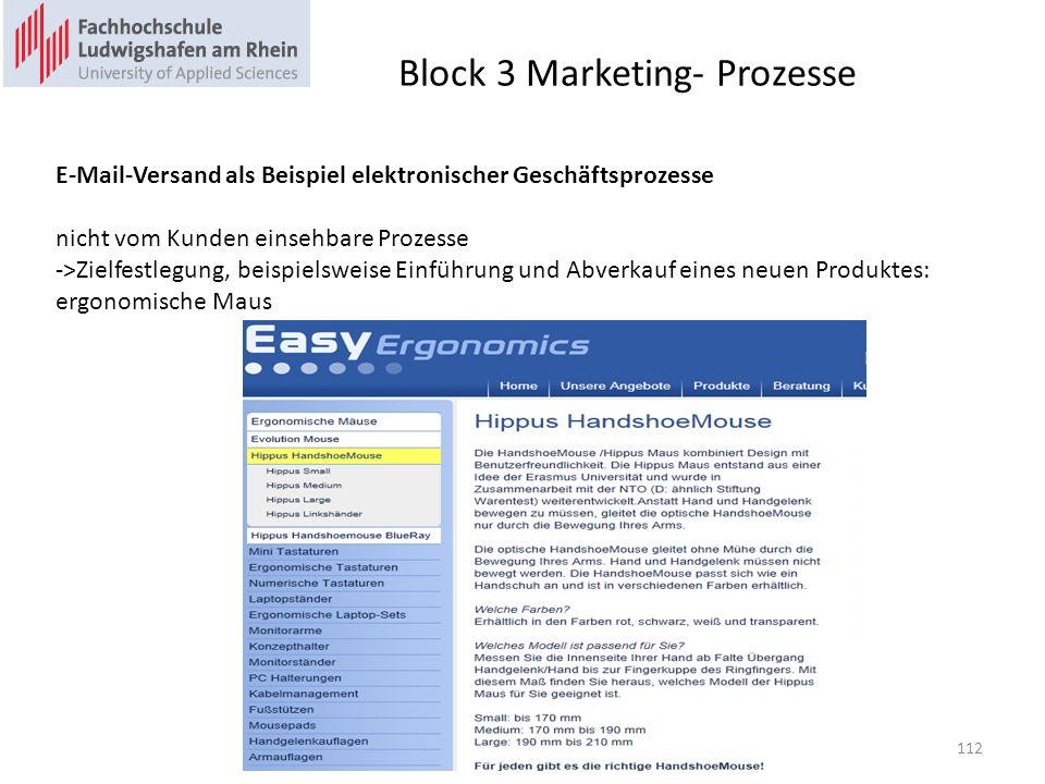 Block 3 Marketing- Prozesse E-Mail-Versand als Beispiel elektronischer Geschäftsprozesse nicht vom Kunden einsehbare Prozesse ->Zielfestlegung, beispielsweise Einführung und Abverkauf eines neuen Produktes: ergonomische Maus 112