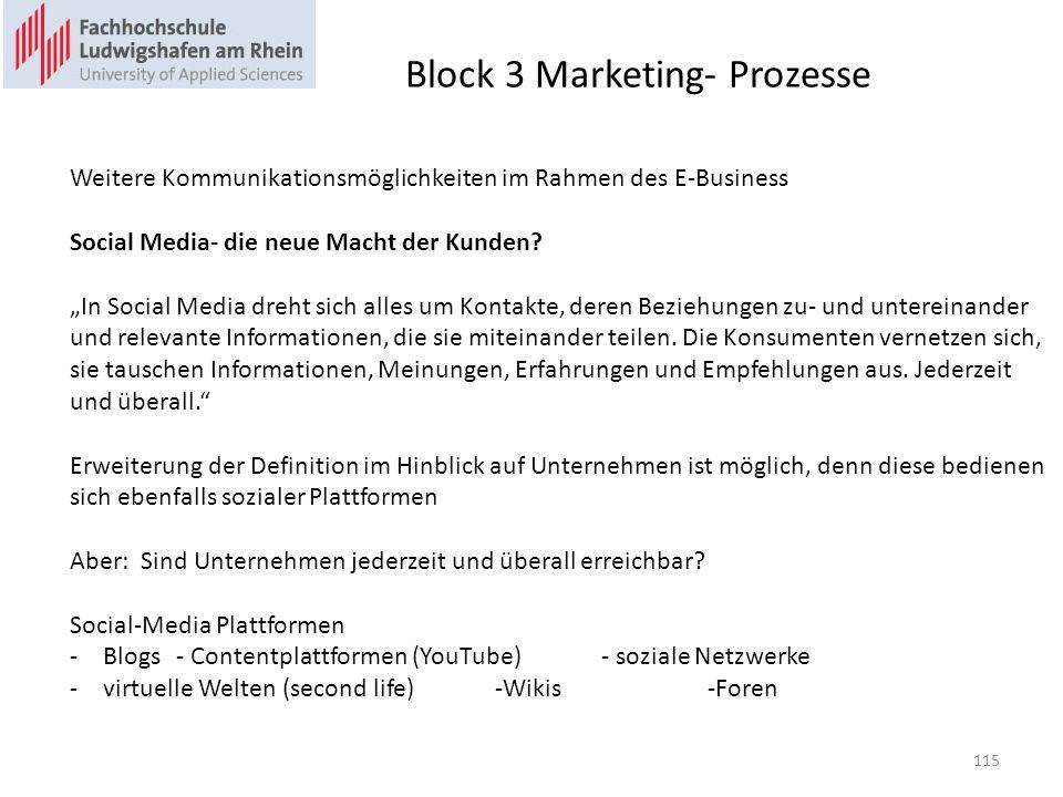 Block 3 Marketing- Prozesse Weitere Kommunikationsmöglichkeiten im Rahmen des E-Business Social Media- die neue Macht der Kunden.