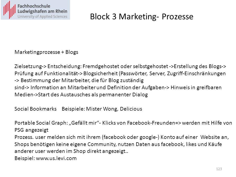 Block 3 Marketing- Prozesse Marketingprozesse + Blogs Zielsetzung-> Entscheidung: Fremdgehostet oder selbstgehostet ->Erstellung des Blogs-> Prüfung auf Funktionalität-> Blogsicherheit (Passwörter, Server, Zugriff-Einschränkungen -> Bestimmung der Mitarbeiter, die für Blog zuständig sind-> Information an Mitarbeiter und Definition der Aufgaben-> Hinweis in greifbaren Medien->Start des Austausches als permanenter Dialog Social BookmarksBeispiele: Mister Wong, Delicious Portable Social Graph: Gefällt mir- Klicks von Facebook-Freunden=> werden mit Hilfe von PSG angezeigt Prozess.