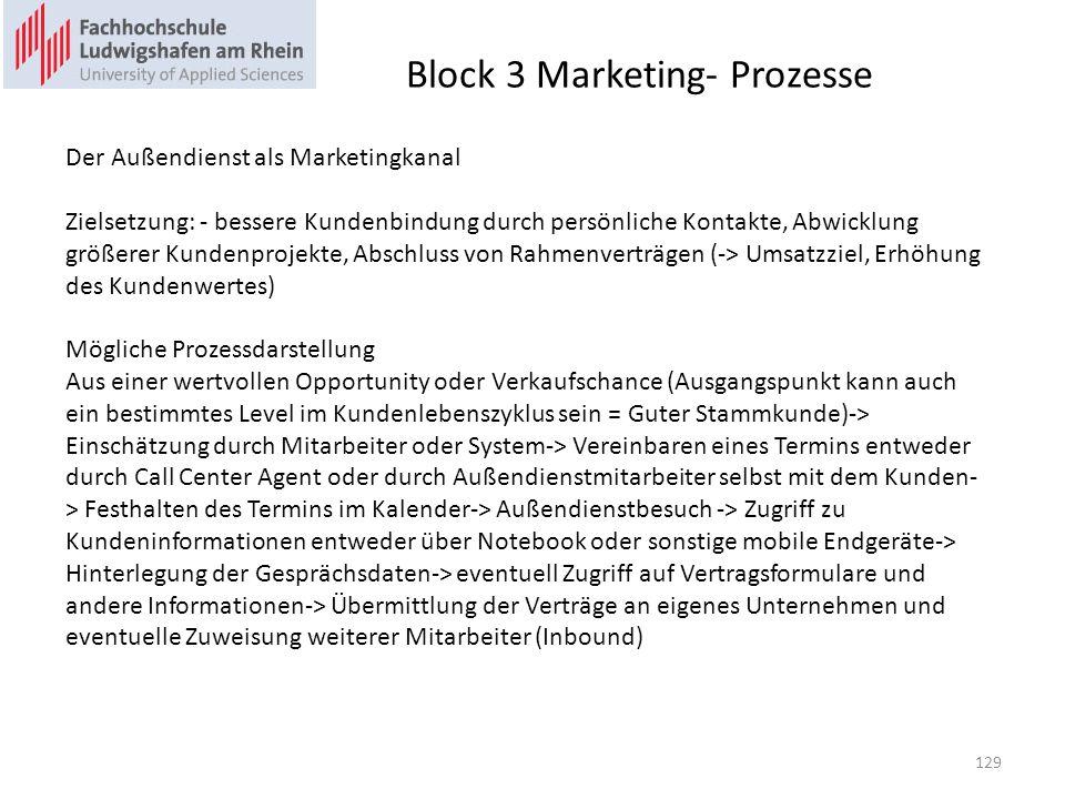 Block 3 Marketing- Prozesse Der Außendienst als Marketingkanal Zielsetzung: - bessere Kundenbindung durch persönliche Kontakte, Abwicklung größerer Kundenprojekte, Abschluss von Rahmenverträgen (-> Umsatzziel, Erhöhung des Kundenwertes) Mögliche Prozessdarstellung Aus einer wertvollen Opportunity oder Verkaufschance (Ausgangspunkt kann auch ein bestimmtes Level im Kundenlebenszyklus sein = Guter Stammkunde)-> Einschätzung durch Mitarbeiter oder System-> Vereinbaren eines Termins entweder durch Call Center Agent oder durch Außendienstmitarbeiter selbst mit dem Kunden- > Festhalten des Termins im Kalender-> Außendienstbesuch -> Zugriff zu Kundeninformationen entweder über Notebook oder sonstige mobile Endgeräte-> Hinterlegung der Gesprächsdaten-> eventuell Zugriff auf Vertragsformulare und andere Informationen-> Übermittlung der Verträge an eigenes Unternehmen und eventuelle Zuweisung weiterer Mitarbeiter (Inbound) 129
