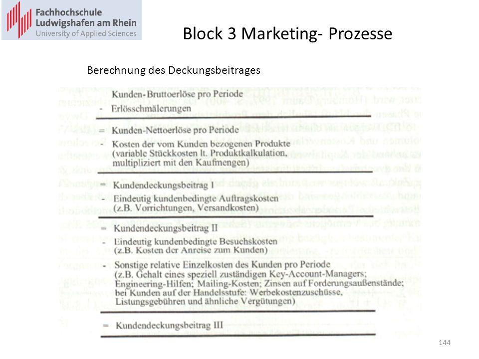 Block 3 Marketing- Prozesse Berechnung des Deckungsbeitrages 144