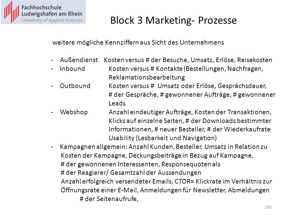 Block 3 Marketing- Prozesse weitere mögliche Kennziffern aus Sicht des Unternehmens -Außendienst Kosten versus # der Besuche, Umsatz, Erlöse, Reisekosten -InboundKosten versus # Kontakte (Bestellungen, Nachfragen, Reklamationsbearbeitung -OutboundKosten versus # Umsatz oder Erlöse, Gesprächsdauer, # der Gespräche, # gewonnener Aufträge, # gewonnener Leads -WebshopAnzahl eindeutiger Aufträge, Kosten der Transaktionen, Klicks auf einzelne Seiten, # der Downloads bestimmter Informationen, # neuer Besteller, # der Wiederkaufrate Usability (Lesbarkeit und Navigation) -Kampagnen allgemein: Anzahl Kunden, Besteller, Umsatz in Relation zu Kosten der Kampagne, Deckungsbeiträge in Bezug auf Kampagne, # der gewonnenen Interessenten, Responsequoten als # der Reagierer/ Gesamtzahl der Aussendungen Anzahl erfolgreich versendeter Emails, CTOR= Klickrate im Verhältnis zur Öffnungsrate einer E-Mail, Anmeldungen für Newsletter, Abmeldungen # der Seitenaufrufe, 145