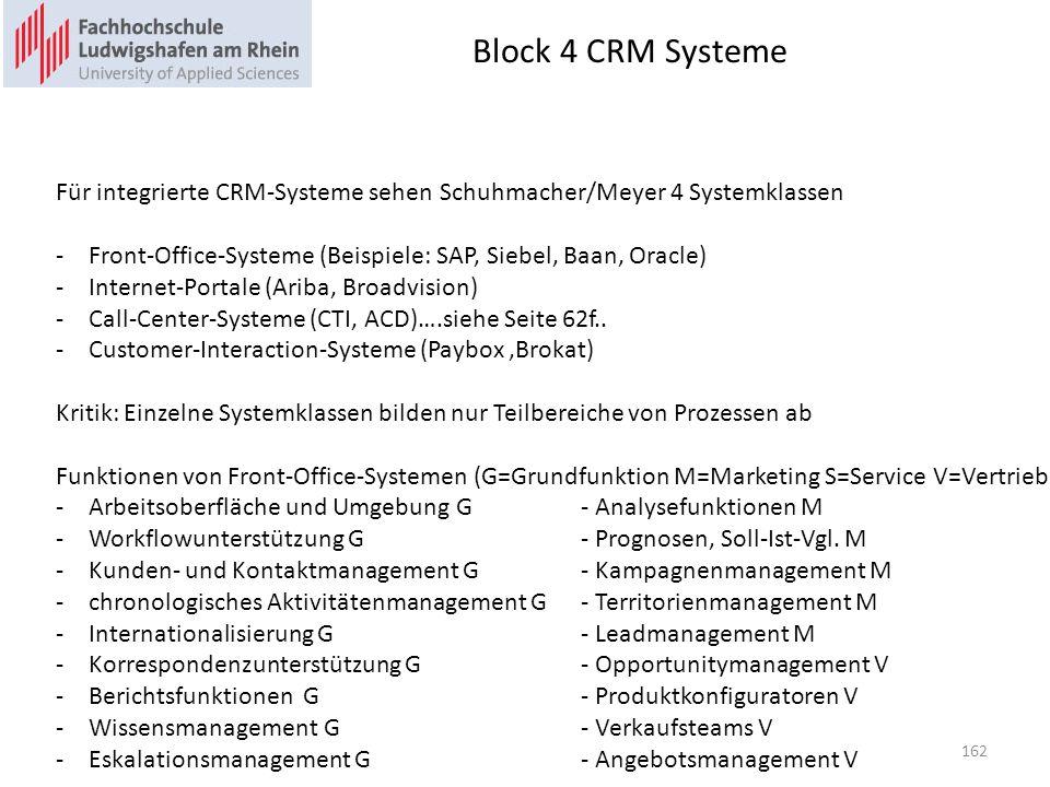 Block 4 CRM Systeme Für integrierte CRM-Systeme sehen Schuhmacher/Meyer 4 Systemklassen -Front-Office-Systeme (Beispiele: SAP, Siebel, Baan, Oracle) -Internet-Portale (Ariba, Broadvision) -Call-Center-Systeme (CTI, ACD)….siehe Seite 62f..