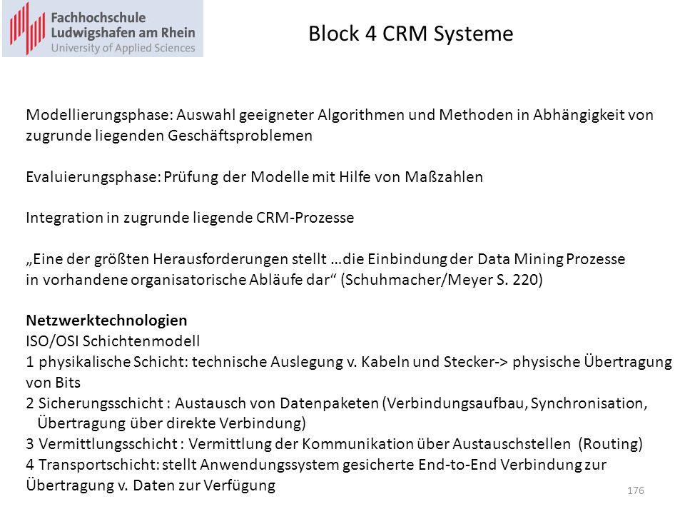 Block 4 CRM Systeme 176 Modellierungsphase: Auswahl geeigneter Algorithmen und Methoden in Abhängigkeit von zugrunde liegenden Geschäftsproblemen Evaluierungsphase: Prüfung der Modelle mit Hilfe von Maßzahlen Integration in zugrunde liegende CRM-Prozesse Eine der größten Herausforderungen stellt …die Einbindung der Data Mining Prozesse in vorhandene organisatorische Abläufe dar (Schuhmacher/Meyer S.