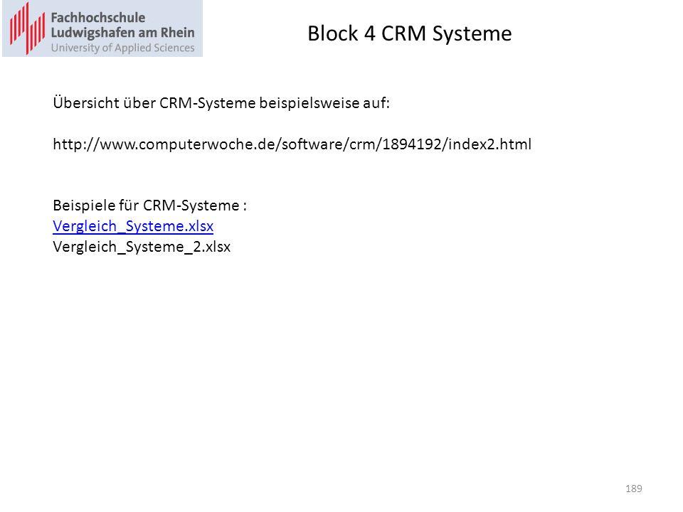Block 4 CRM Systeme 189 Übersicht über CRM-Systeme beispielsweise auf: http://www.computerwoche.de/software/crm/1894192/index2.html Beispiele für CRM-Systeme : Vergleich_Systeme.xlsx Vergleich_Systeme_2.xlsx