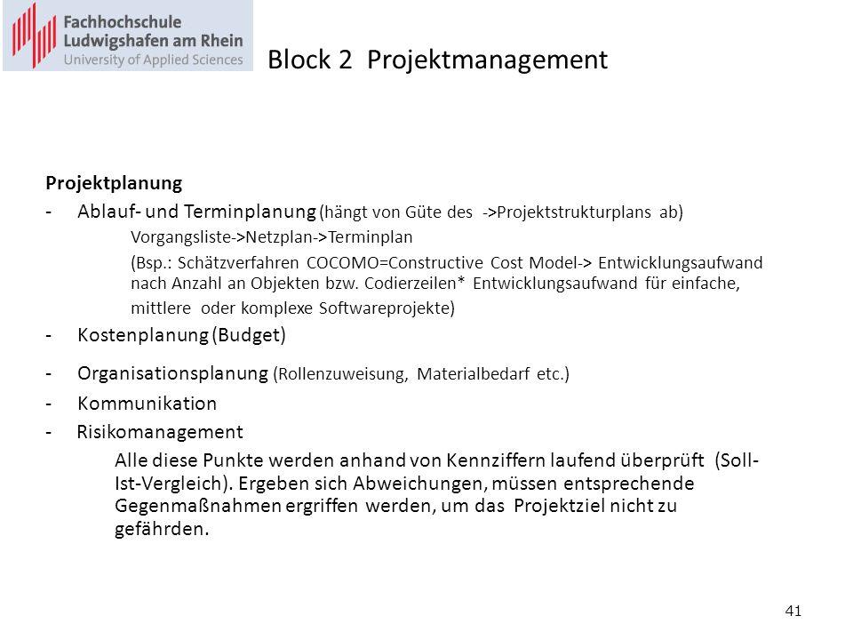 41 Projektplanung -Ablauf- und Terminplanung (hängt von Güte des ->Projektstrukturplans ab) Vorgangsliste->Netzplan->Terminplan (Bsp.: Schätzverfahren COCOMO=Constructive Cost Model-> Entwicklungsaufwand nach Anzahl an Objekten bzw.