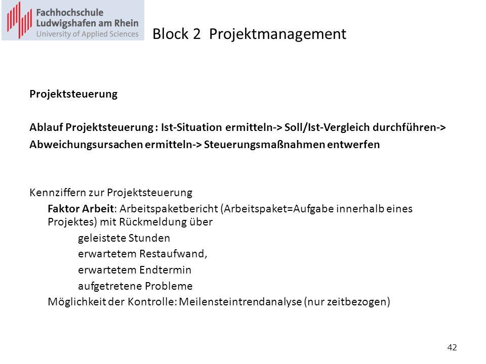 42 Projektsteuerung Ablauf Projektsteuerung : Ist-Situation ermitteln-> Soll/Ist-Vergleich durchführen-> Abweichungsursachen ermitteln-> Steuerungsmaßnahmen entwerfen Kennziffern zur Projektsteuerung Faktor Arbeit: Arbeitspaketbericht (Arbeitspaket=Aufgabe innerhalb eines Projektes) mit Rückmeldung über geleistete Stunden erwartetem Restaufwand, erwartetem Endtermin aufgetretene Probleme Möglichkeit der Kontrolle: Meilensteintrendanalyse (nur zeitbezogen) Block 2 Projektmanagement