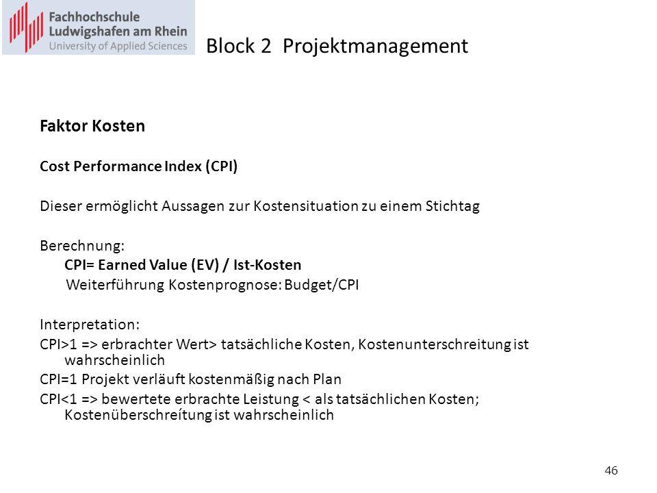 46 Faktor Kosten Cost Performance Index (CPI) Dieser ermöglicht Aussagen zur Kostensituation zu einem Stichtag Berechnung: CPI= Earned Value (EV) / Ist-Kosten Weiterführung Kostenprognose: Budget/CPI Interpretation: CPI>1 => erbrachter Wert> tatsächliche Kosten, Kostenunterschreitung ist wahrscheinlich CPI=1 Projekt verläuft kostenmäßig nach Plan CPI bewertete erbrachte Leistung < als tatsächlichen Kosten; Kostenüberschreítung ist wahrscheinlich Block 2 Projektmanagement