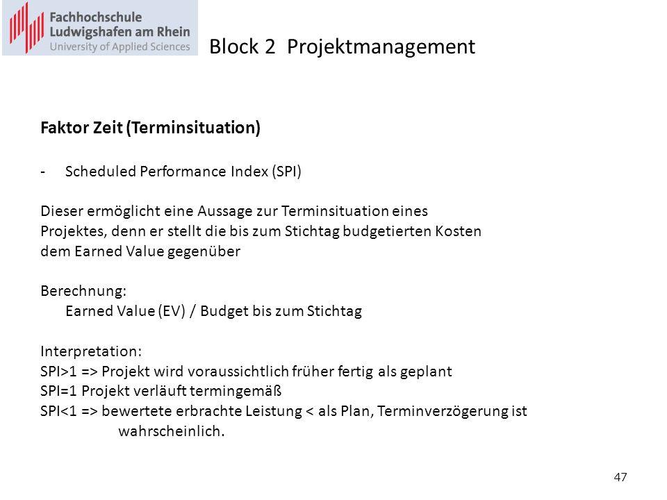 47 Faktor Zeit (Terminsituation) -Scheduled Performance Index (SPI) Dieser ermöglicht eine Aussage zur Terminsituation eines Projektes, denn er stellt die bis zum Stichtag budgetierten Kosten dem Earned Value gegenüber Berechnung: Earned Value (EV) / Budget bis zum Stichtag Interpretation: SPI>1 => Projekt wird voraussichtlich früher fertig als geplant SPI=1 Projekt verläuft termingemäß SPI bewertete erbrachte Leistung < als Plan, Terminverzögerung ist wahrscheinlich.