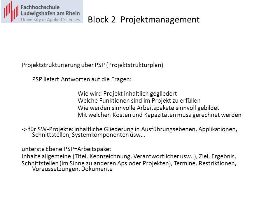 Projektstrukturierung über PSP (Projektstrukturplan) PSP liefert Antworten auf die Fragen: Wie wird Projekt inhaltlich gegliedert Welche Funktionen sind im Projekt zu erfüllen Wie werden sinnvolle Arbeitspakete sinnvoll gebildet Mit welchen Kosten und Kapazitäten muss gerechnet werden -> für SW-Projekte: inhaltliche Gliederung in Ausführungsebenen, Applikationen, Schnittstellen, Systemkomponenten usw… unterste Ebene PSP=Arbeitspaket Inhalte allgemeine (Titel, Kennzeichnung, Verantwortlicher usw..), Ziel, Ergebnis, Schnittstellen (im Sinne zu anderen Aps oder Projekten), Termine, Restriktionen, Voraussetzungen, Dokumente Block 2 Projektmanagement
