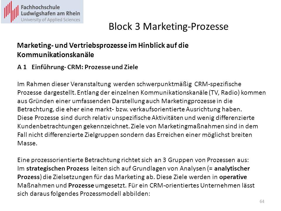 Block 3 Marketing-Prozesse Marketing- und Vertriebsprozesse im Hinblick auf die Kommunikationskanäle A 1 Einführung- CRM: Prozesse und Ziele Im Rahmen dieser Veranstaltung werden schwerpunktmäßig CRM-spezifische Prozesse dargestellt.