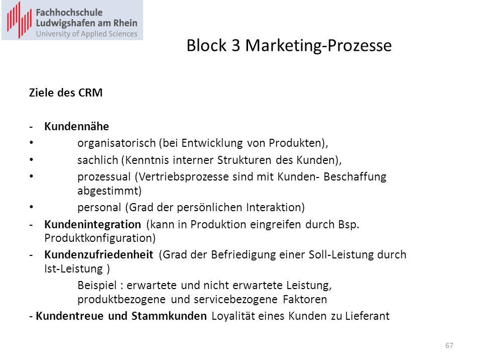 Block 3 Marketing-Prozesse Ziele des CRM -Kundennähe organisatorisch (bei Entwicklung von Produkten), sachlich (Kenntnis interner Strukturen des Kunden), prozessual (Vertriebsprozesse sind mit Kunden- Beschaffung abgestimmt) personal (Grad der persönlichen Interaktion) -Kundenintegration (kann in Produktion eingreifen durch Bsp.