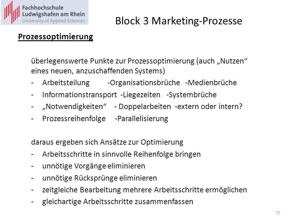 Block 3 Marketing-Prozesse Prozessoptimierung überlegenswerte Punkte zur Prozessoptimierung (auch Nutzen eines neuen, anzuschaffenden Systems) -Arbeitsteilung -Organisationsbrüche -Medienbrüche -Informationstransport -Liegezeiten -Systembrüche -Notwendigkeiten - Doppelarbeiten -extern oder intern.