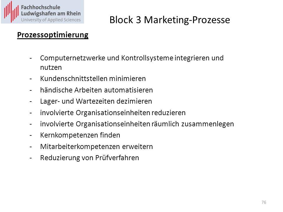 Block 3 Marketing-Prozesse Prozessoptimierung -Computernetzwerke und Kontrollsysteme integrieren und nutzen -Kundenschnittstellen minimieren -händische Arbeiten automatisieren -Lager- und Wartezeiten dezimieren -involvierte Organisationseinheiten reduzieren -involvierte Organisationseinheiten räumlich zusammenlegen -Kernkompetenzen finden -Mitarbeiterkompetenzen erweitern -Reduzierung von Prüfverfahren 76