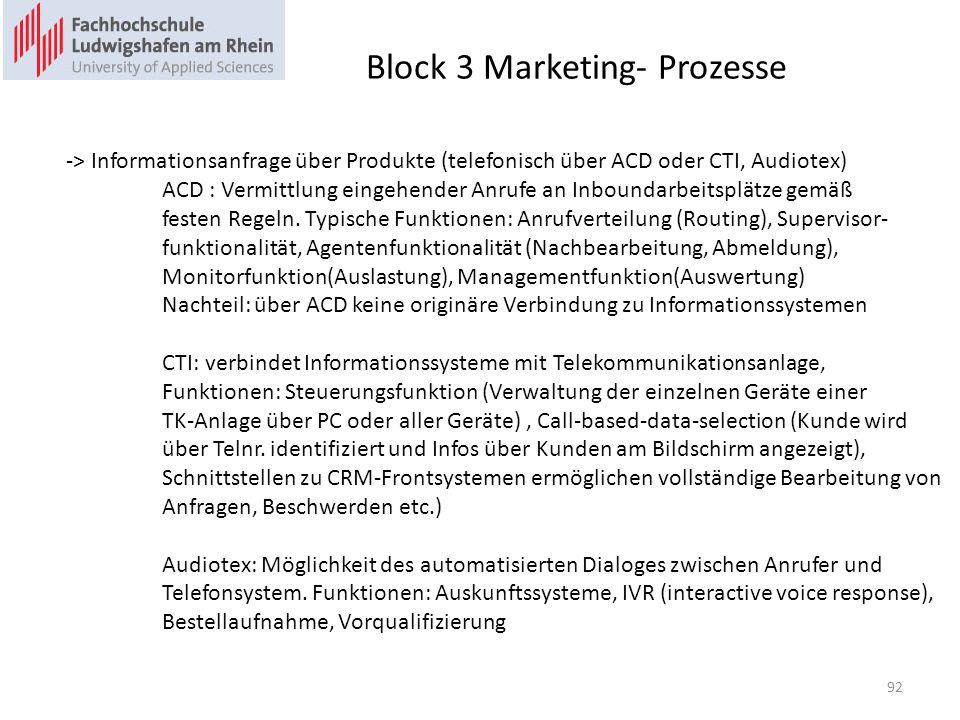 Block 3 Marketing- Prozesse -> Informationsanfrage über Produkte (telefonisch über ACD oder CTI, Audiotex) ACD : Vermittlung eingehender Anrufe an Inboundarbeitsplätze gemäß festen Regeln.