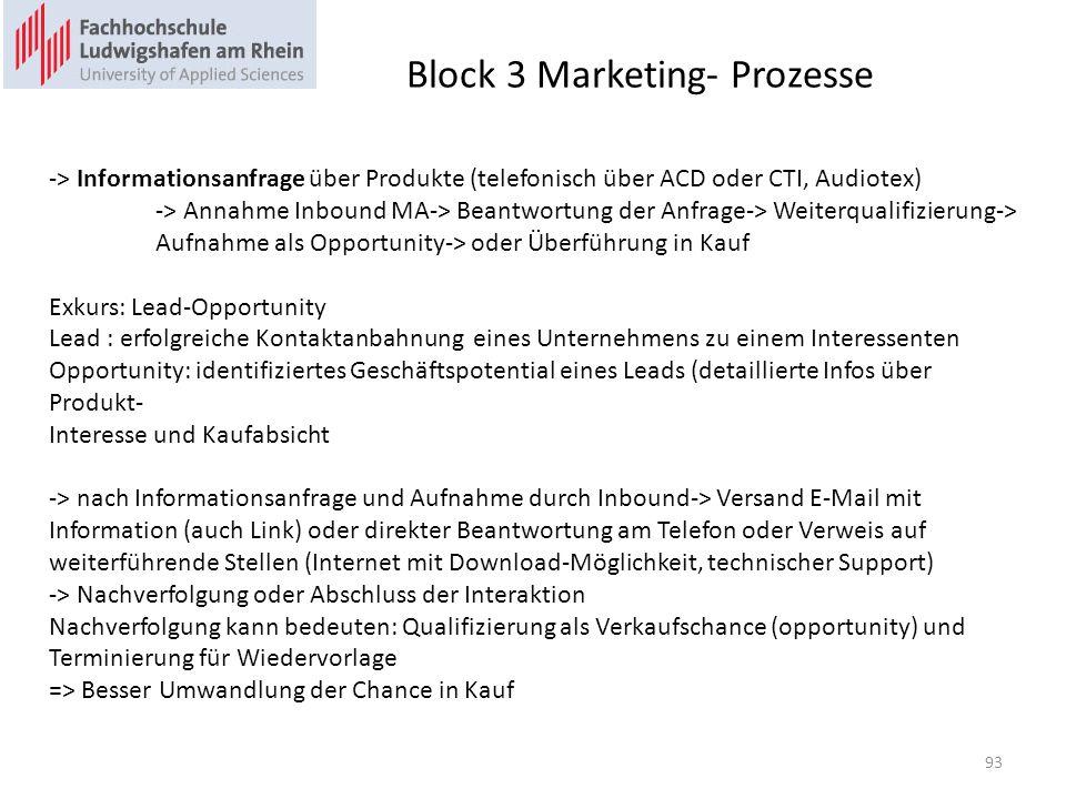 Block 3 Marketing- Prozesse -> Informationsanfrage über Produkte (telefonisch über ACD oder CTI, Audiotex) -> Annahme Inbound MA-> Beantwortung der Anfrage-> Weiterqualifizierung-> Aufnahme als Opportunity-> oder Überführung in Kauf Exkurs: Lead-Opportunity Lead : erfolgreiche Kontaktanbahnung eines Unternehmens zu einem Interessenten Opportunity: identifiziertes Geschäftspotential eines Leads (detaillierte Infos über Produkt- Interesse und Kaufabsicht -> nach Informationsanfrage und Aufnahme durch Inbound-> Versand E-Mail mit Information (auch Link) oder direkter Beantwortung am Telefon oder Verweis auf weiterführende Stellen (Internet mit Download-Möglichkeit, technischer Support) -> Nachverfolgung oder Abschluss der Interaktion Nachverfolgung kann bedeuten: Qualifizierung als Verkaufschance (opportunity) und Terminierung für Wiedervorlage => Besser Umwandlung der Chance in Kauf 93