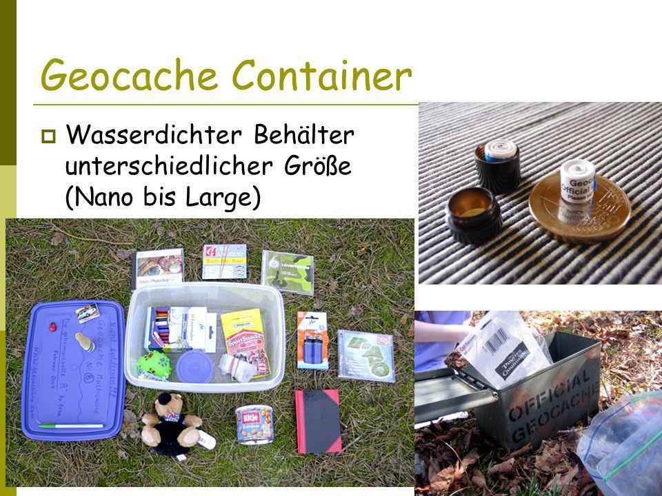 Geocache Container Wasserdichter Behälter unterschiedlicher Größe (Nano bis Large) Logbuch oder Zettel Schreibgerät Tauschutensilien – Trades Travelbugs, Geocoins