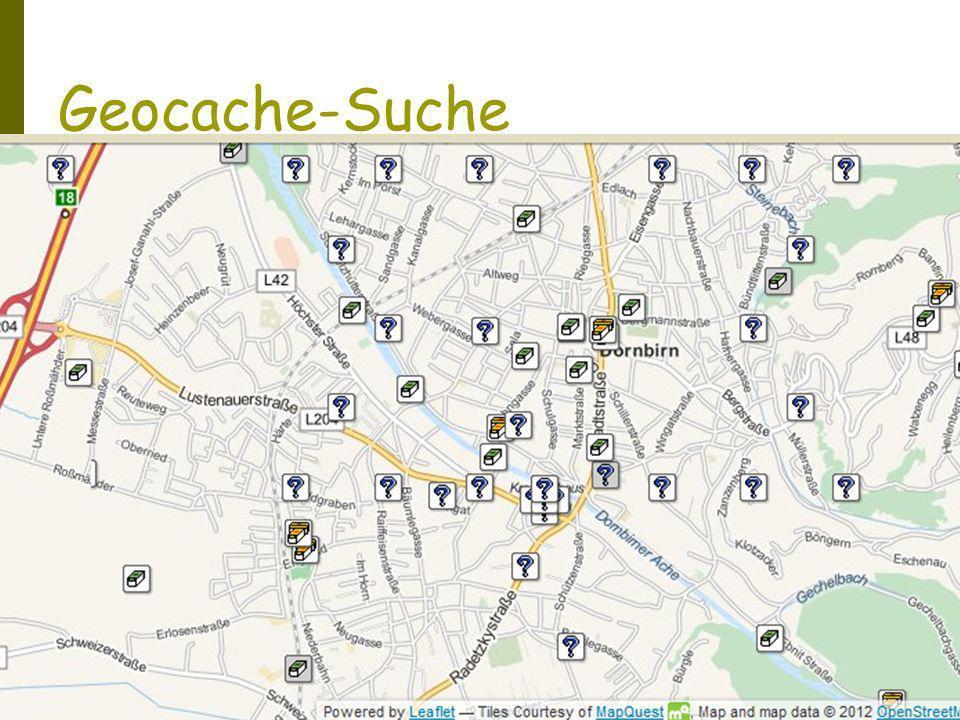 Geocache-Suche Suchort bestimmen Anzeige der Geocaches am Suchort (www.geocaching.com)www.geocaching.com Übertragen der Koordinaten auf das GPS- Gerät Suchfunktion am GPS-Gerät aktivieren Suchen und Finden Eintrag Logbuch Geocache Eintrag Internet www.geocaching.comwww.geocaching.com